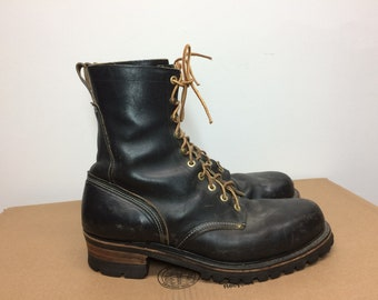 vintage Georgia black leather steel toe logger boots size 10.5 D work boots hook lace made in USA