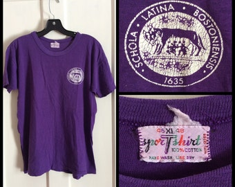 Vintage 1960's Boston Latin High School Schola Latina Bostoniensis Purple Wolf all cotton looks Medium