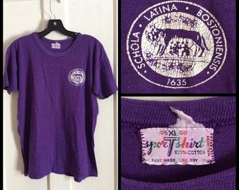 Vintage 1960's Boston Latin High School Schola Latina Bostoniensis Purple Wolf all cotton looks Medium