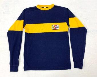 1960s 1970s Suzuki Motocross long sleeve t-shirt kids size 20 wide stripe striped Donmoor dirt bike motorcycle patch