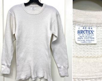 1960s thick soft cotton thermal long johns undershirt size large looks small Arctex brand waffle textured t-shirt flat stitch long cuffs #16