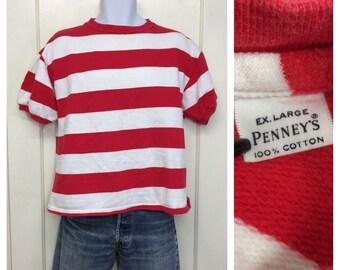 1950s red white wide striped short sleeve sweatshirt size XL by Penneys all cotton Moondoggie  surfer Elvis rockabilly beach punk beatnik