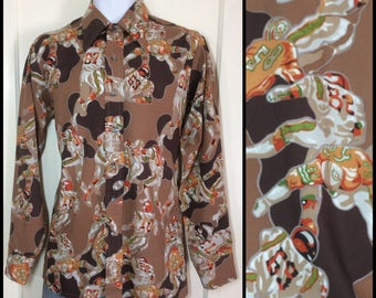 1970s Football Novelty Print Disco Shirt size Medium camouflage patterned Super Bowl game night drinking party camo