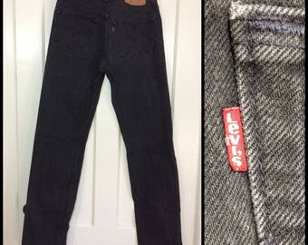1980s Levi's 501 slightly faded black denim 31X34, measures 30x34 tall straight leg button fly made in USA boyfriend jeans #334