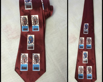 1940's deadstock Silk Necktie burgundy Abstract blue gray paisley geometric squares rectangles Patterned nos
