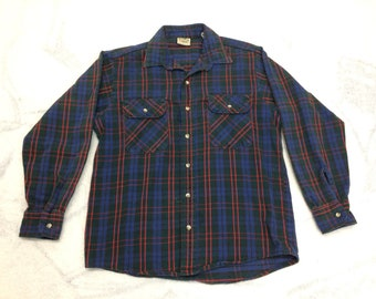 1990s Five Brother heavy cotton flannel shirt size medium blue black dark green red plaid work workwear