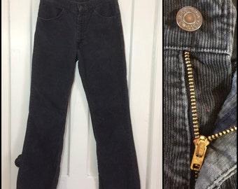1970's 646 Levis Corduroys 32x33 faded black bellbottoms bell bottoms flare jeans 32 inch waist Talon zipper #1590