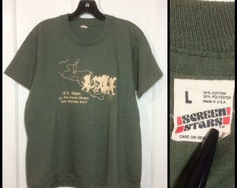 1980s US Marines t-shirt size large 20x25 army green Screen Stars made in USA military Central America map El Salvador Nicaragua Panama