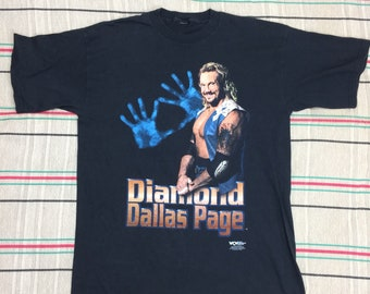 1990s 1998 WCW Diamond Dallas Page Wrestling t-shirt looks size XL 22x30 black cotton wwf American professional wrestler