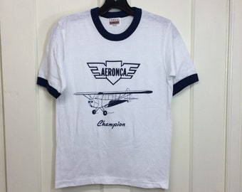 deadstock 1980s Aeronca Champion vintage airplane t-shirt size small 16x22 pilot aircraft ringer tee Hanes made in USA NOS