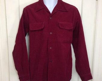 1940s dark magenta burgundy red cotton corduroy loop collar shirt size medium by Nelson Paige pocket flaps satin lined yoke rockabilly swing