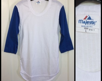 1970s deadstock baseball jersey style t-shirt size large, looks XS 16x29 white blue ribbed 2 tone plain blank mesh NOS made in USA
