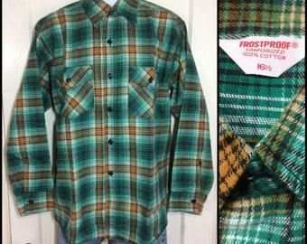 1960's deadstock Frostproof Sanforized heavy flannel plaid shirt size large 16.5 green black yellow white NOS