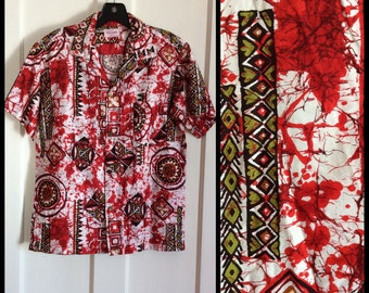 Vintage 1960s Hawaiian Batik Tiki Patterned Shirt looks size Small Made in Hawaii Printed
