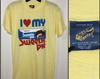 Deadstock 1980s I love my Sweetie Pie marshmallow cakes advertisement t-shirt size medium looks small 16x26 yellow thin Sneakers tag USA NOS