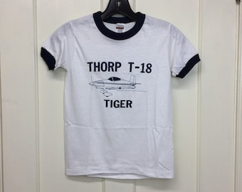 kids deadstock Thorp T-18 Tiger vintage airplane t-shirt boys youth size medium 14x19 pilot aircraft ringer tee Hanes made in USA NOS