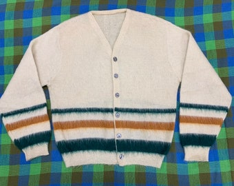 1950s striped mohair fuzzy cardigan sweater looks size large cream color rust orange dark green stripes rockabilly grunge punk Kurt Cobain