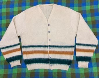 1950s striped mohair fuzzy cardigan sweater looks size large cream color rust orange dark green stripes rockabilly grunge punk Kurt Cobain