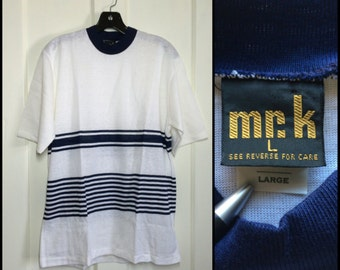 Deadstock 1960s Navy Blue white stripes t-shirt size Large all cotton NOS Mr. K tiny factory flaw