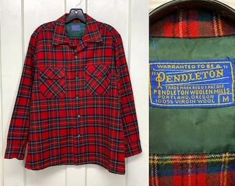 1950s Pendleton virgin wool loop collar board shirt size medium red dark green tartan plaid made in USA rockabilly beach boys