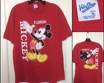 1980s Mickey Mouse Florida t-shirt size XL 22x27 front back print worn soft red Disney character tee Velva Sheen made in USA
