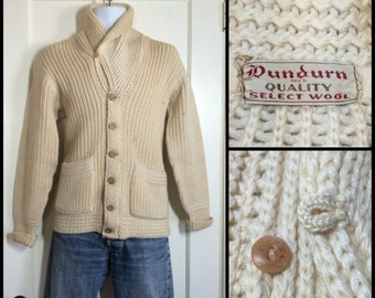 1940's Cream color Shawl Collar Cardigan Sweater looks size Medium Dundurn Quality Select Wool low gauge knit Bakelite + wood buttons