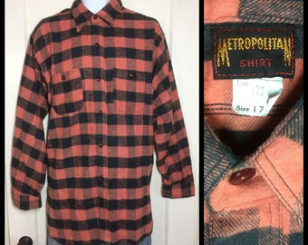 1920s 1930s Deadstock Antique Buffalo Plaid soft Flannel size 17 large to XL Salmon Peach Black gussets nos by Metropolitan Shirt Company