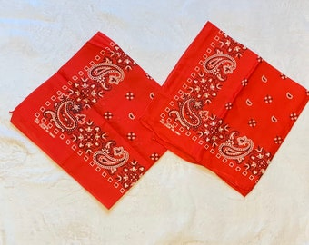 Pick one- 1960s 1970s deadstock bandana 22x21.5 XL Fast Color red hemmed cotton paisley flowers squares border print selvedge