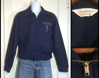 1950's Champion brand dark blue Cotton Zip Up Jacket size Large Camp Aquatics Sea Horse
