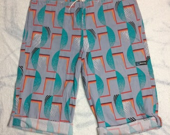1980s cotton Rincoon drawstring board shorts swim trunks swimsuit gray turquoise abstract patterned surfer roll-up legs size medium surfer