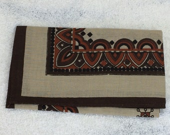 "deadstock vintage bandana 16"" x 16.25"" paisley style patterned handkerchief pocket square brown tan border striped hemmed cotton NOS #122"