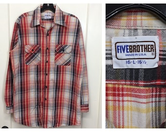 1970s Five Brother heavy cotton flannel shirt size large red black tan gray plaid work workwear made in USA