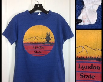 1970's Lyndon State College Vermont t-shirt size medium 17.5x23 all cotton blue sunset forest woods mountain hiking University school nature