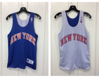 1990s reversible New York Knicks NBA Basketball team Champion brand Jersey Tank size small made in USA