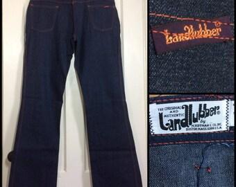 1970s Landlubber dark wash Indigo blue denim jeans Bell Bottom Hip Hugger boyfriend boho hippie flare 36x35 measures 35x35 Talon zipper #293