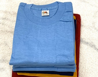 Pick One- deadstock 1960s Fruit of the Loom pocket tee plain blank t-shirt size large XL cotton single stitch made in USA square pocket NOS