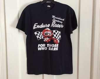 Vintage 1980's Monadnock Speedway Hot Rod Enduro Racer Drag Race T-shirt size Medium