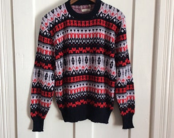 Vintage 1950's Ski Sweater size looks Medium Red White Black Nordic Pattern