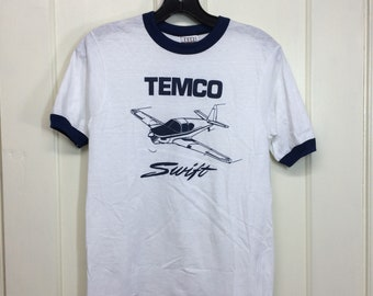 deadstock 1980s Temco Swift post ww2 vintage aircraft airplane t-shirt size small 16x23 pilot ringer tee Hanes made in USA NOS