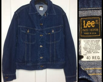 1980's Lee 4 pocket denim jean jacket size 40 dark wash made in USA cats eye buttons #1923