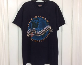 1990s Harley Davidson Motorcycle One World Dusseldorf Germany t-shirt size large 21x29 black cotton made in the UK