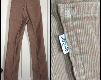 519 Levis Corduroys 28x34, measures 27.5x33.5 Tall Tan straight leg Talon zipper made in USA barely used cords boyfriend jeans  #1588
