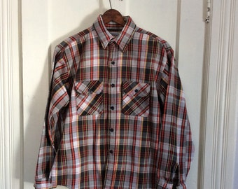 Vintage 1970's 5 Brother Heavy Flannel Plaid Mens Shirt size Large gray black red