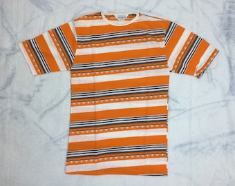 Deadstock 1960s bright orange white gray striped patterned t-shirt size medium looks small 17x27 cotton single stitch hippie mod surfer NOS