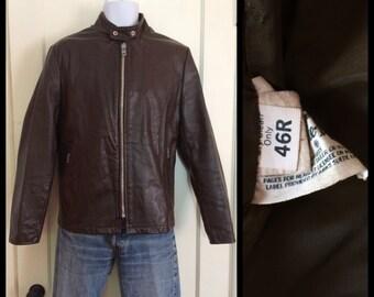 Vintage 1970's brown Cafe Racer Leather Motorcycle Jacket Brown size 46R Biker a-is
