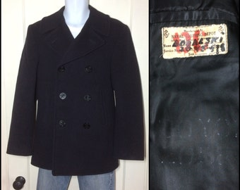 1950's vintage Military USN US Navy Wool Jacket Korean War Pea Coat looks size Small 8 anchor buttons Boralski stamped inside