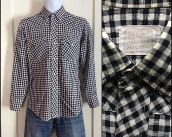 1950's Vintage Black and White Gingham Check Cowboy Western Shirt with silver thread looks size Small HBarC California Rancher Textured