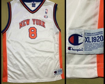 1990's Latrell Sprewell New York Knicks number 8 NBA Basketball team Champion brand Jersey Tank size Youth L 18-20 #8 white