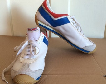 deadstock 1970s Leather PONY brand sportswear Sneakers size 9.5 Red White Blue 1976 Official Olympics Canada NOS