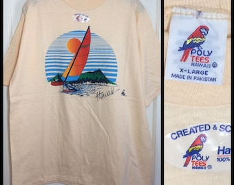 deadstock 1980s Poly Tees Hawaii tan souvenir t-shirt size XL 22x28 sailing outrigger canoe sailboat sunset beach all cotton NWT NOS